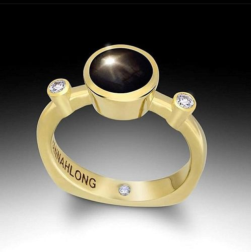 18k Green Gold Diamond Black Star Sapphire Ring