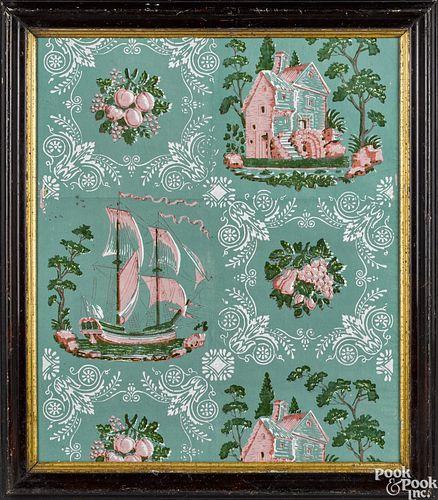 Framed wallpaper panel, ca. 1830