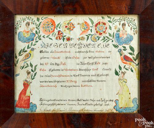 Daniel Peterman fraktur birth certificate