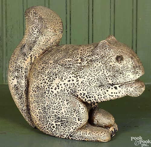 Carved and painted squirrel with nut, ca. 1900