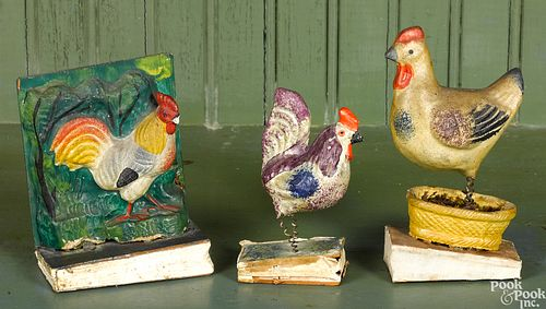 Three rooster pipsqueak toys, 19th c.