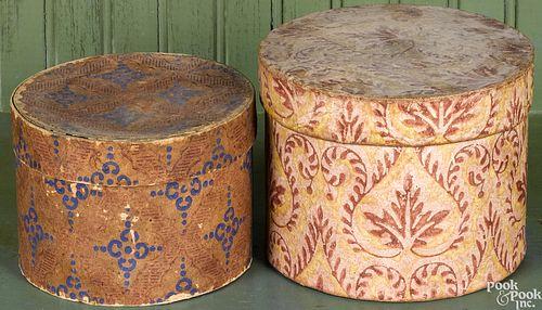 Two wallpaper dresser boxes, 19th c.