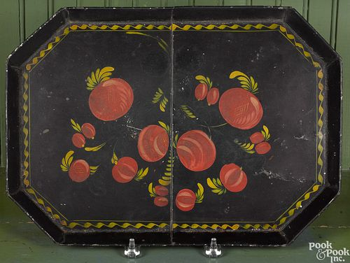 Large black toleware tray, 19th c.
