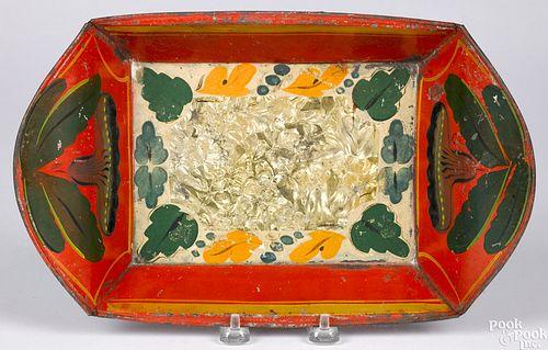 Vibrant red toleware bread tray, 19th c.