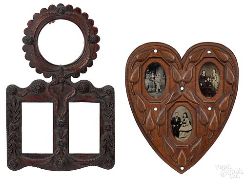 Two tramp art frames, late 19th c.
