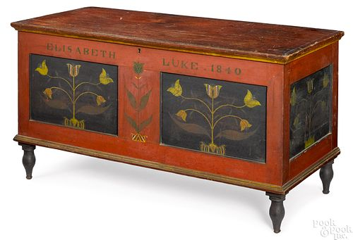 Ohio painted poplar dower chest, dated 1840