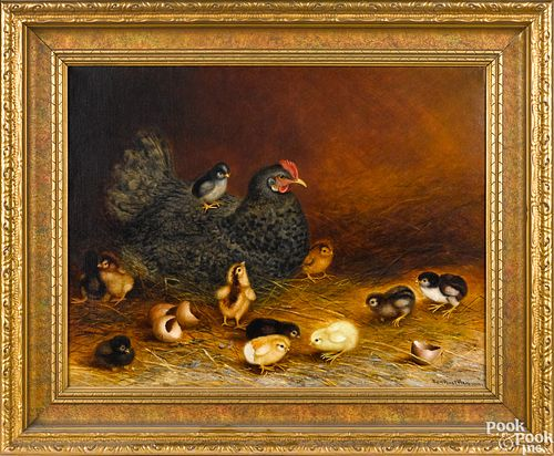 Ben Austrian oil on canvas of a hen and chicks