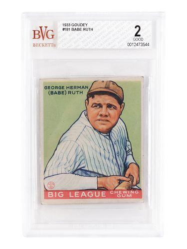 A 1933 Goudey Babe Ruth No. 181 Baseball Card BVG Good (Beckett Vintage Grading) 2