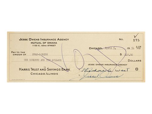 A 1954 Jesse Owens Signed Check,