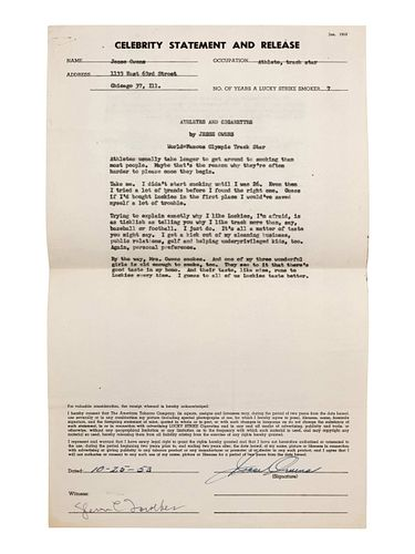 A 1953 Jesse Owens Signed American Tobacco Contract,