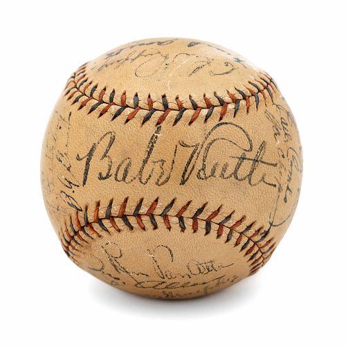 A Babe Ruth, Lou Gehrig and 1934 New York Yankees Team Signed Baseball (Beckett LOA),