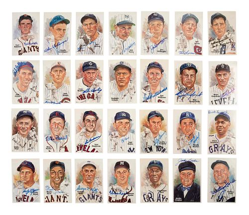 A Collection of 296 Perez-Steele Hall of Fame Postcards (1st-15th Series) Including 94 Signed,