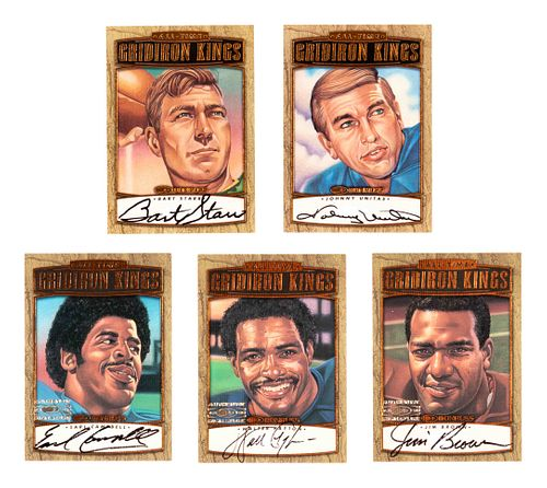 A Complete Set ofFive Signed 1999 Donruss Gridiron Kings Football Cards (Payton, Starr, Unitas, Brown, Campbell),