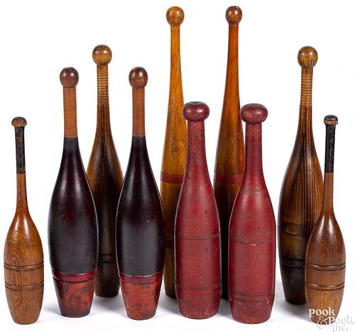 Five pairs of painted Indian juggling clubs