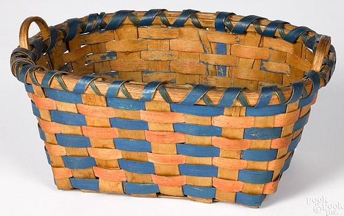 Small Woodlands painted basket, late 19th c.