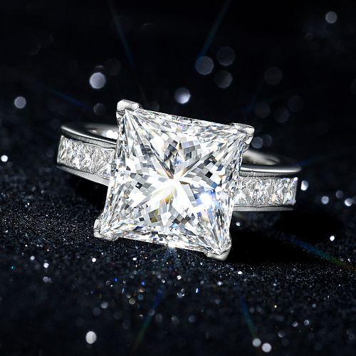6.13-Carat Square Brilliant-Cut Diamond Ring