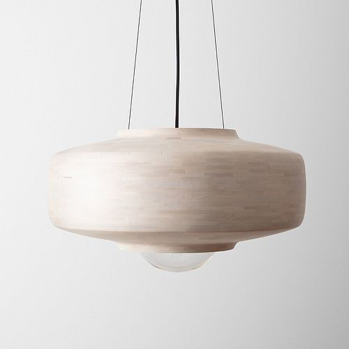 STACKED Saucer Pendant, Bleached Maple
