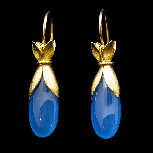 Periwinkle Chalcedony Drop Earrings
