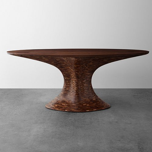 STACKED + PATCHED Walnut Foyer Table