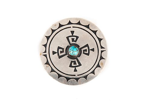 A Willie Yazzie Large Silver and Turquoise Pendant, ca. 1985