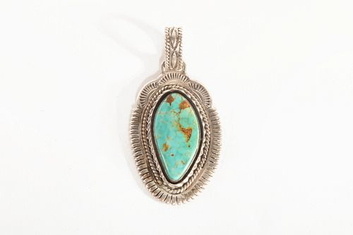 A Ben Begaye Silver and Turquoise Pendant, ca. 1990