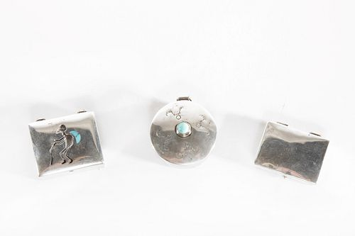 A Group of Three Navajo Silver and Turquoise Pillboxes, ca. 1960-1980