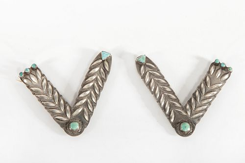 A Pair of Navajo Silver and Turquoise Collar Tabs, ca. 1930