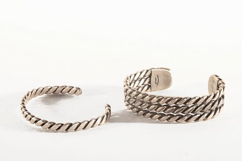Two Twisted Navajo Sterling Silver Bangles, ca. 1980