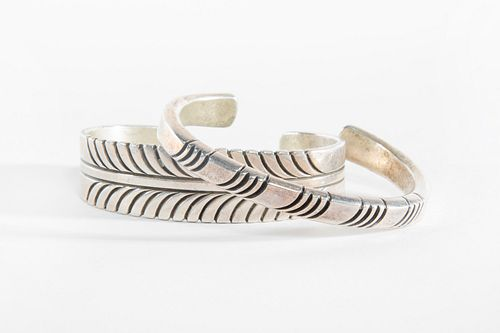 Two Steven Yellowhorse Sterling Silver Bangles, ca. 1980-1990