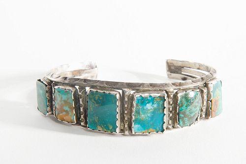 A Navajo Five Stone Turquoise Cuff Bracelet, ca. 1960