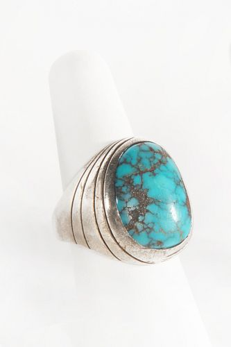 A Navajo Silver and Turquoise Ring