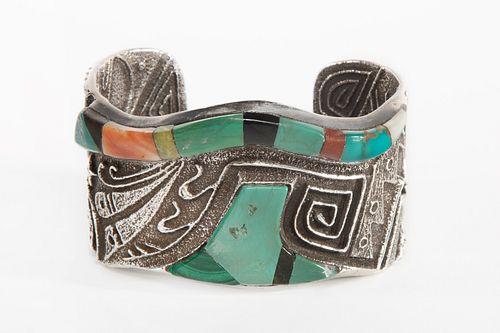 A Preston Monongye Tufa Cast Silver and Stone Inlay Cuff Bracelet