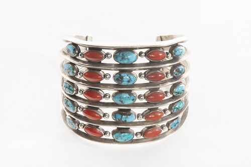 A Kenneth Begay Turquoise and Coral Band Cuff