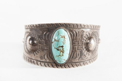 A Navajo Silver and Turquoise Cuff with Whirling Logs, ca. 1925