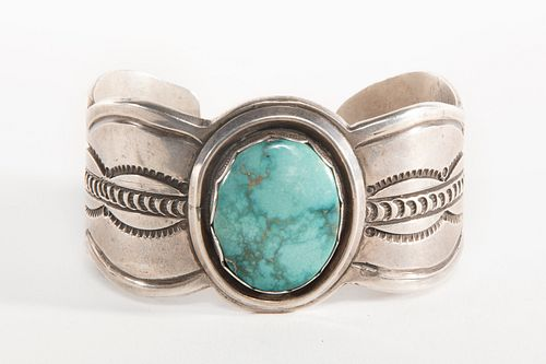 A Fred Thompson Turquoise and Sterling Silver Cuff Bracelet, ca. 1950