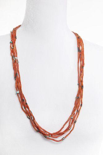 A Five Strand Pueblo Coral Necklace