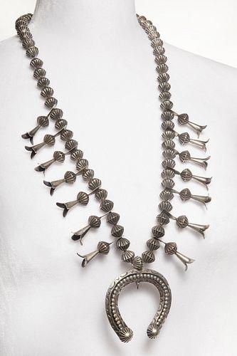 A Navajo Silver Squash Blossom Necklace, ca. 1980