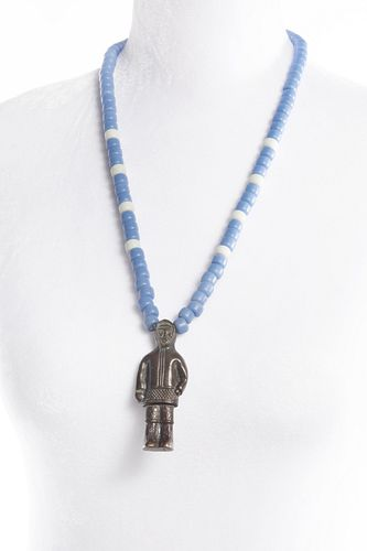 A Inuit Trade Bead Necklace with Bronze Shaman