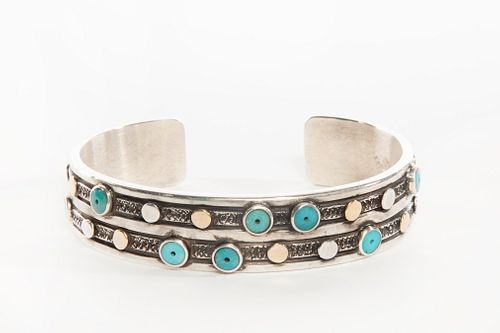 A Tony Abeyta Silver, Turquoise and 18K Gold Cuff Bracelet, 2020