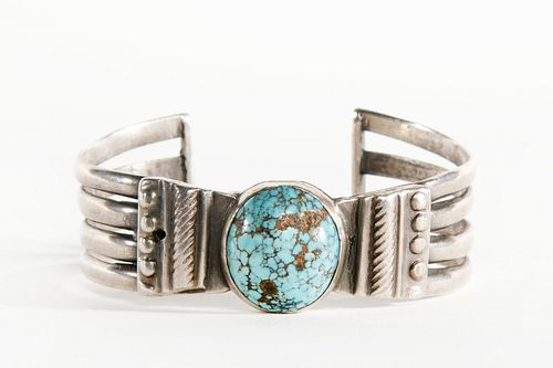 A Navajo Turquoise and Silver Cuff, ca. 1940