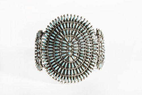 A Zuni Petit Point Cluster Turquoise Cuff Bracelet, ca. 1940