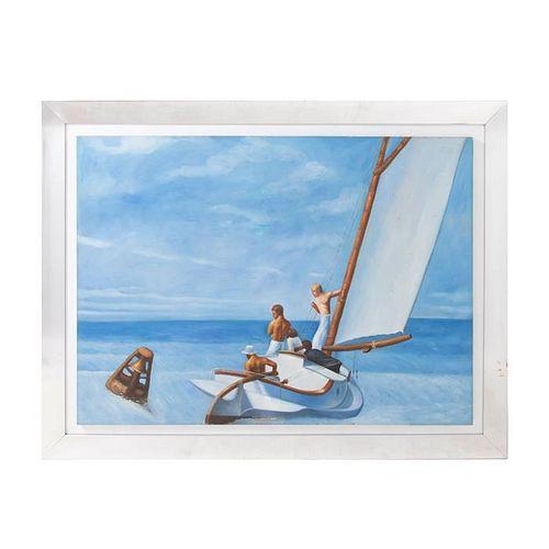 """Ground Swell"". Reproducción de la obra de Edward Hopper. Óleo sobre lienzo. Enmarcada. 74 x 150 cm"