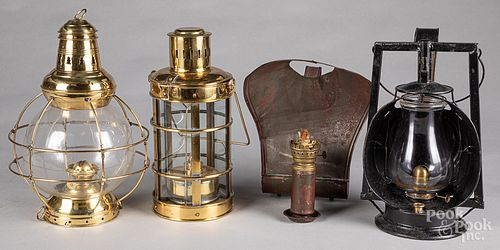 Two brass lanterns, together with two tin lantern
