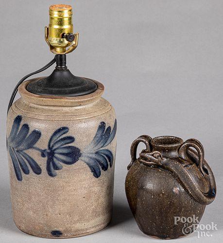 Pennsylvania stoneware table lamp, 19th c.