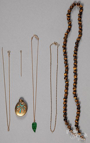 Tiger's eye necklace, etc.
