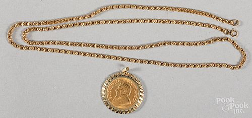 Gold Krugerrand, .5 ozt., mounted in a 9K pendant