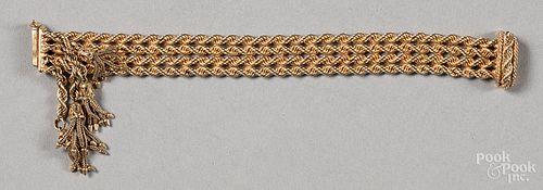 14K gold bracelet, with tassel clasp