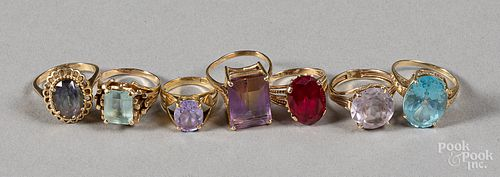 Seven 14K gold and gemstone rings