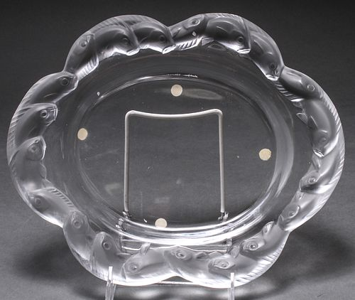 Lalique Molded & Frosted Dish with Koi Fish Rim