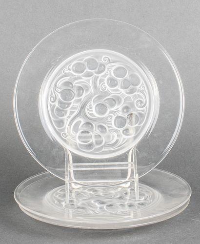 "Lalique ""Marienthal"" Glass Plates, 3"